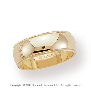 18k Yellow Gold 7mm Domed S-Fit Milgrain Wedding Band