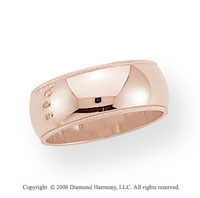 14k Rose Gold 8mm Domed S-Fit Milgrain Wedding Band