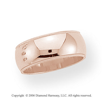 18k Rose Gold 8mm Domed S-Fit Milgrain Wedding Band