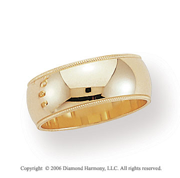 18k Yellow Gold 8mm Domed S-Fit Milgrain Wedding Band