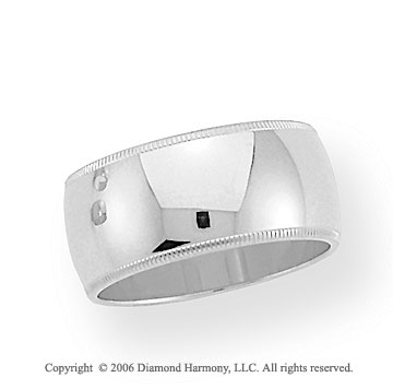 18k White Gold 10mm Domed S-Fit Milgrain Wedding Band