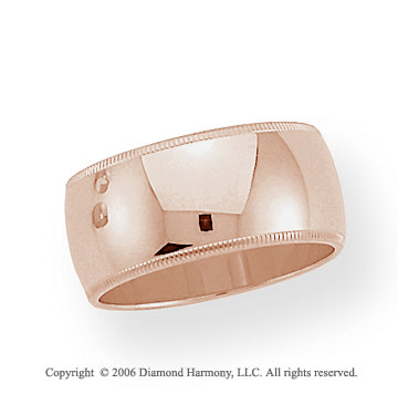 18k Rose Gold 10mm Domed S-Fit Milgrain Wedding Band