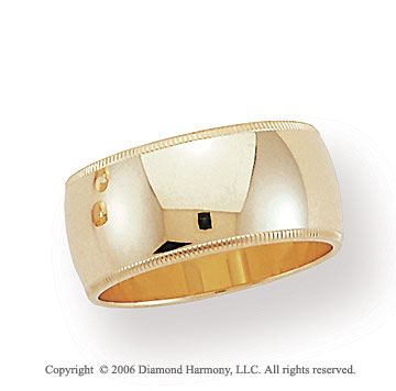 14k Yellow Gold 10mm Domed S-Fit Milgrain Wedding Band