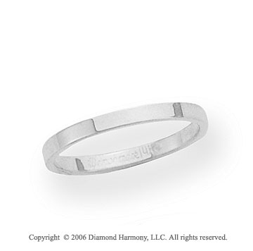14k White Gold 2mm Flat Standard Fit Wedding Band