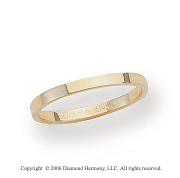 14k Yellow Gold 2mm Flat Standard Fit Wedding Band