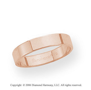 14k Rose Gold 4mm Flat Standard Fit Wedding Band
