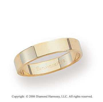 18k Yellow Gold 4mm Flat Standard Fit Wedding Band