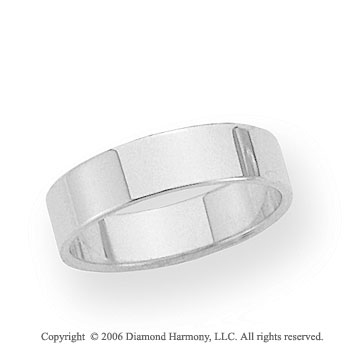 14k White Gold 5mm Flat Standard Fit Wedding Band