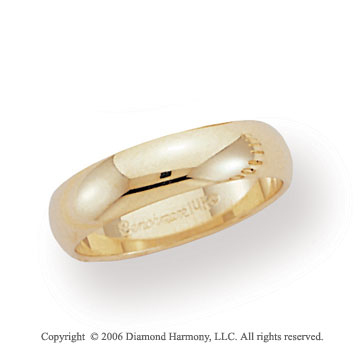 14k Yellow Gold 6mm Flat Standard Fit Wedding Band