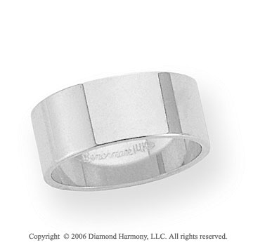 18k White Gold 8mm Flat Standard Fit Wedding Band