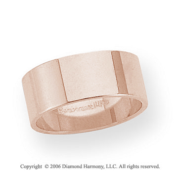 14k Rose Gold 8mm Flat Standard Fit Wedding Band