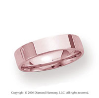 14k Rose Gold 4mm Flat Comfort Fit Wedding Band
