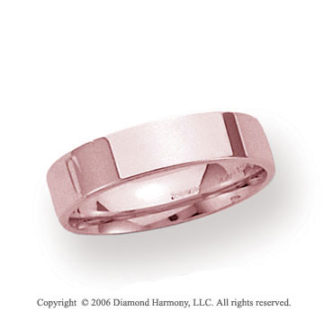 18k Rose Gold 4mm Flat Comfort Fit Wedding Band
