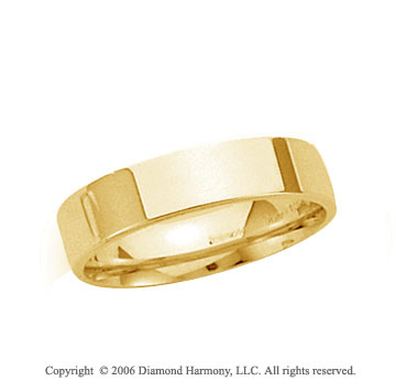 14k Yellow Gold 4mm Flat Comfort Fit Wedding Band