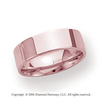 14k Rose Gold 6mm Flat Comfort Fit Wedding Band