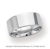 18k White Gold 8mm Flat Comfort Fit Wedding Band