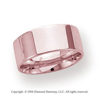 14k Rose Gold 8mm Flat Comfort Fit Wedding Band