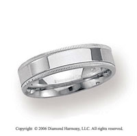 Palladium 4mm Flat Comfort-F Milgrain Wedding Band