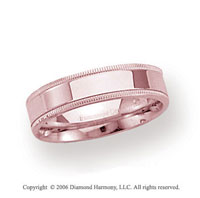18k Rose Gold 4mm Flat Comfort-F Milgrain Wedding Band
