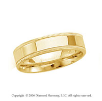 14k Yellow Gold 4mm Flat Comfort-F Milgrain Wedding Band