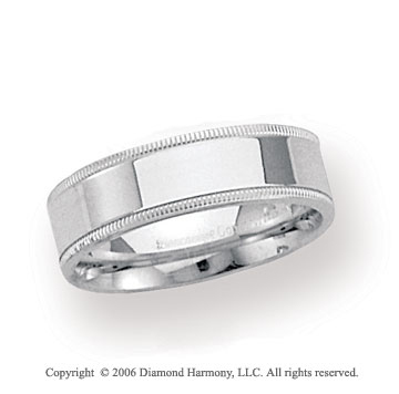 18k White Gold 6mm Flat Comfort-F Milgrain Wedding Band