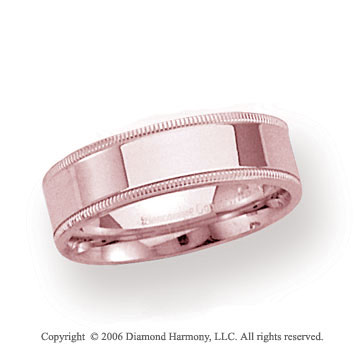 18k Rose Gold 6mm Flat Comfort-F Milgrain Wedding Band