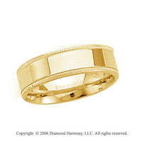 14k Yellow Gold 6mm Flat Comfort-F Milgrain Wedding Band