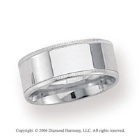 14k White Gold 8mm Flat Comfort-F Milgrain Wedding Band