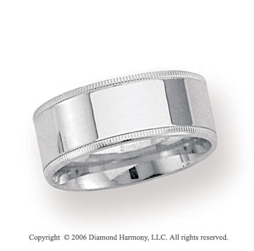 18k White Gold 8mm Flat Comfort-F Milgrain Wedding Band