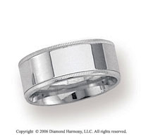 Palladium 8mm Flat Comfort-F Milgrain Wedding Band
