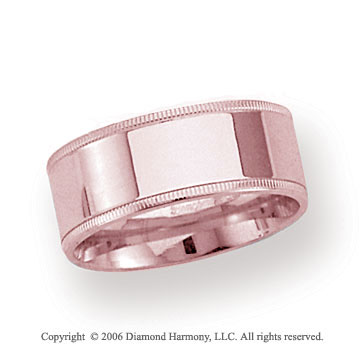 14k Rose Gold 8mm Flat Comfort-F Milgrain Wedding Band
