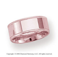 18k Rose Gold 8mm Flat Comfort-F Milgrain Wedding Band