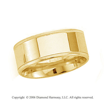 18k Yellow Gold 8mm Flat Comfort-F Milgrain Wedding Band