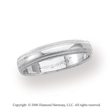14k White Gold 4mm Domed Double Milgrain Wedding Band