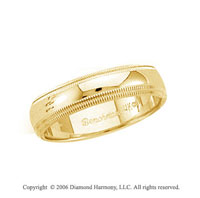14k Yellow Gold 5mm Domed Double Milgrain Wedding Band