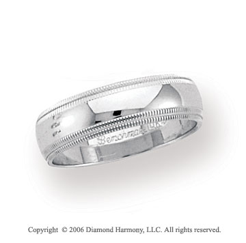 14k White Gold 6mm Domed Double Milgrain Wedding Band