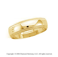 14k Yellow Gold 6mm Domed Double Milgrain Wedding Band