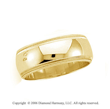 14k Yellow Gold 8mm Domed Double Milgrain Wedding Band