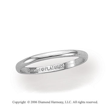 Platinum 2mm Standard Fit Plain Domed Wedding Band