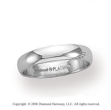 Platinum 4mm Standard Fit Plain Domed Wedding Band