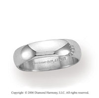 Platinum 5mm Standard Fit Plain Domed Wedding Band