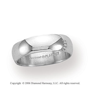 Platinum 6mm Standard Fit Plain Domed Wedding Band