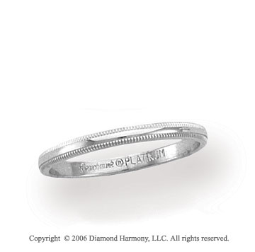 Platinum 2mm Domed Milgrain Wedding Band