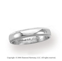 Platinum 3mm Domed Milgrain Wedding Band