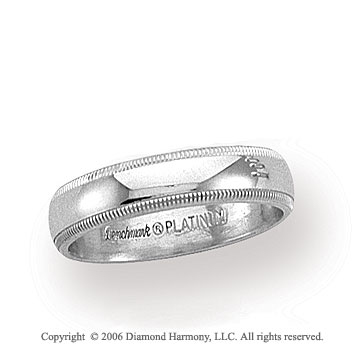 Platinum 4mm Domed Milgrain Wedding Band