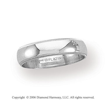 Platinum 5mm Domed Milgrain Wedding Band