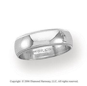 Platinum 6mm Domed Milgrain Wedding Band