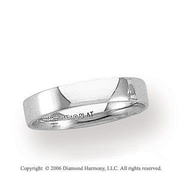 Platinum 4mm Flat Comfort Fit Plain Wedding Band