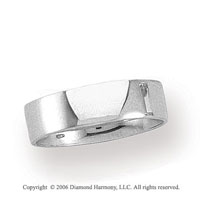 Platinum 6mm Flat Comfort Fit Plain Wedding Band