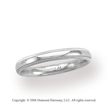 Platinum 3mm Domed Comfort Fit Milgrain Wedding Band
